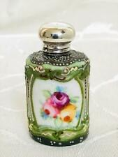 ANTIQUE ORIENTAL PORCELAIN ENAMELLED PERFUME SCENT BOTTLE SILVER LID HM 1908