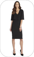 bnwt by CLUB L CAPE OVERLAY PLUNGE DRESS col: BLACK ~ UK SIZE 12 new