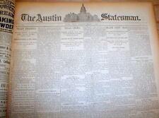Lot of 5 rare original 1890-95 AUSTIN STATESMAN Texas newspapers - 120 years old