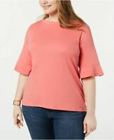 Tommy Hilfiger Top Pink Flare Sleeves Studded Neck Sz 1X Plus NEW NWT 323