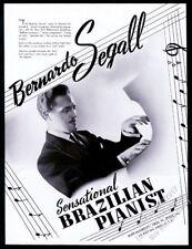 1940 Bernardo Segall photo piano recital tour booking trade print ad