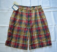 Womens Vintage Ruff Hewn Shorts ~ Sz 10 ~ Plaid ~ Mid Length ~ Pleated ~ Linen