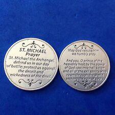 Archangel St Michael Pocket Token Prayer DEFEND US IN BATTLE Saint Medal 2 Sided