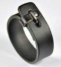 Simply Cool Vintage Single Band Mens Leather Bracelet Wristband Cuff V02 Black