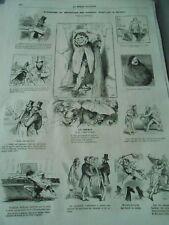 Gravure 1861 - Caricature Exposition du Boulevard des Italiens Vignettes