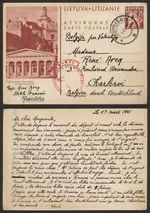 Lithuania WWII 1941 - Illustrated Stationery to Charleroi Belgium - Censor L388