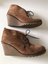 Carvela Tan Suede Wedge Ankle Boots, Size 40