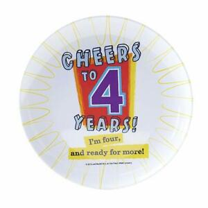 Cheers to 4 Years Kids 4th Birthday Party Favor Gift Tray Melamine Snack Plate