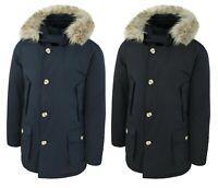 Piumino Parka uomo Arctic invernale blu nero giaccone cappotto con pelliccia