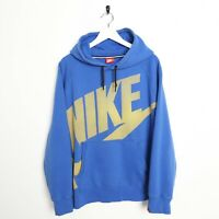 Vintage NIKE Big Spell Out Logo Hoodie Sweatshirt Blue XL