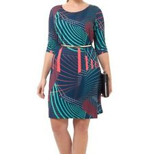 Triste Peacock Abstract Shift Women Dress Size 0X(10/12)