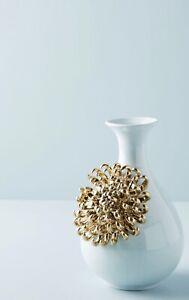 Anthropologie 3D Gold Chrysanthemum Flower Mint Green Blue Sky Bloom Floral Vase