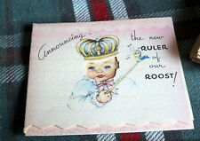 "Vintage 14 Birth Announcement *New Ruler of our Roost* 3"" X 3 1/12 'Inches H"