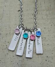 Hand Stamped Mother's Gift Child's Name Birthstone 4 bar Pendant Charm Necklace