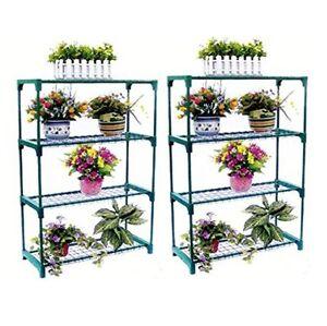 2 Pack Garden Flower 4 Tier Staging Greenhouse Potted Plant Shelves Storage Rack