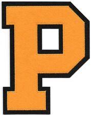 """6 """" Pouce Grand Orange Noir Bloc Letterman's Lettre P Feutre Patch"""