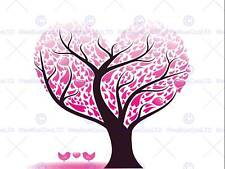 PAINTING ABSTRACT LOVE HEART TREE DESIGN LEAVES VECTOR POSTER PRINT BMP10904