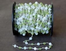 SOLID 925 SILVER LINK CHAIN - 1 FOOT -  PERIDOT MOONSTONE GEMSTONE BEADS #D5763