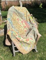 Beautiful Antique Hand Stitched Quilt 67x66.5 Nursery Whimsical Pretty Child