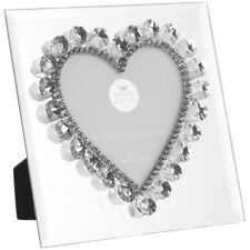 "4"" x 4"" Square Mirror Silver Glass Photo Frame Crystal Diamante Heart Gem Gift"