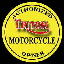 TRITON AUTHORIZED OWNER METAL JUMBO FRIDGE MAGNET,ENAMELLED FINISH.RETRO.