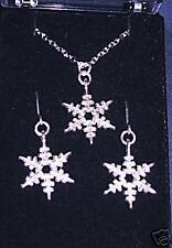PRETTY TIBETAN SILVER SNOWFLAKE NECKLACE & EARRINGS SET