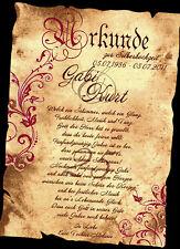 Urkunde Geschenk Silberhochzeit silberne Hochzeit Geldgeschenk