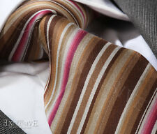 BROWN/PINK MULTI STRIPE SILK TIE - ITALIAN DESIGNER Milano Exclusive