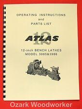 """ATLAS/CRAFTSMAN 12"""" Metal Bench Lathe 3986 & 3985 Clausing Manual 0045"""