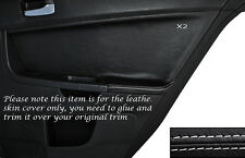 WHITE Stitch 2x POSTERIORE PORTA CARD Trim pelle copertura Si Adatta Mitsubishi Lancer Evo X 10