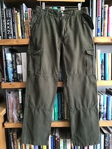 Men's BODEN, 32'' Long ,Tall, Soft Cotton Cargo/Chino/Combat Dark Green Trousers