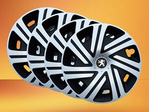 """Brand new silver/black 14"""" wheel trims to fit Peugeot 106,107,206,306,Partner"""
