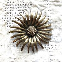 Vtg Sunburst Brooch Sparkly 50s Style Atomic Modernist Scarf Pin