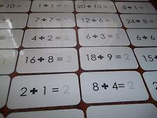 100 laminated Math Division flash cards. Teach and learn basic math division.