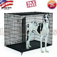 "Extra Large Dog Kennel Crate 48"" Folding Cage 2 Doors Metal Pet ABS Tray XL XXL"