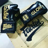 Genuine Fairtex Limited Edition GLORY Boxing Gloves Leather Black/Gold VELCRO G1