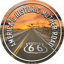 """Route 66 Mother Road Highway 12"""" Round Metal Sign Novelty Retro Home Wall Decor"""