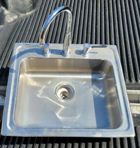 """Elkay LR22193 22"""" Stainless Steel Sink Drop In 3-Hole w/ Faucet 18"""" x 14"""" Basin"""