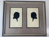 Vintage 1967 Carew Rice (2) Silhouette Hand Cut Woman's Head Profile Framed