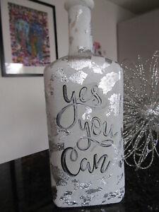 "Handgefertigte LED Glasflasche ""Yes you can"" weiß silber Shabby   *NEU* Unikat"
