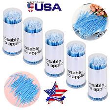 500pcs Dental Micro Brush Disposable Tooth Micro Applicator Blueregularlarge
