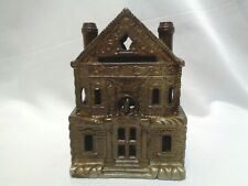 Rare JE Stevens Cast Iron Victorian House Still Coin Bank