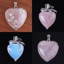 Natural Amethyst Rose Quartz Crystal Opal Agate Lovely Heart Shape Stone Pendant