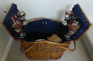 Vintage Picnic Time Wicker Picnic Basket and Tableware Setting for 4