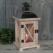 Laterne Holz hell Chrom elegant Windlicht Hochzeit Holzlaterne Metall 28cm groß