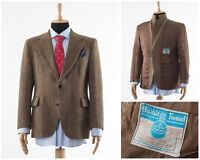 Mens HARRIS TWEED Blazer Coat Jacket Wool Two Button Brown Size 44 XL 54