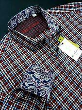 Robert Graham Paisley Grid Check Red Blue Colorful Print Sport Shirts $199 Large
