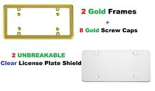 2 UNBREAKABLE Clear License Plate Shield Covers + 2 Gold Frames for Vehicles