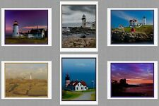 6 Maine Lighthouse Blank Art Note Greeting Photo Cards Pemaquid Neddick  Quoddy