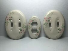 2 Ceramic Double Light Switches & Duplex Outlet Cover French cottage Chic Floral